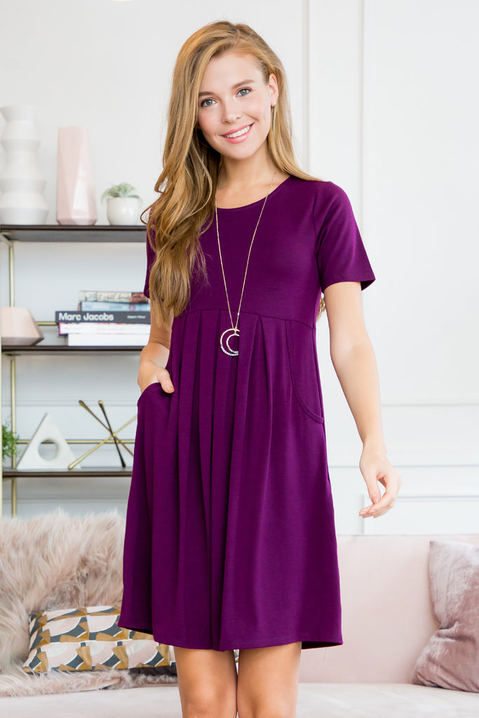 Women's Short Sleeved Empire Pocket Dress