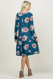 Floral Round Hem Swing Pocket Dress