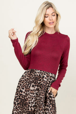 Leopard Puff Sleeved Sweater