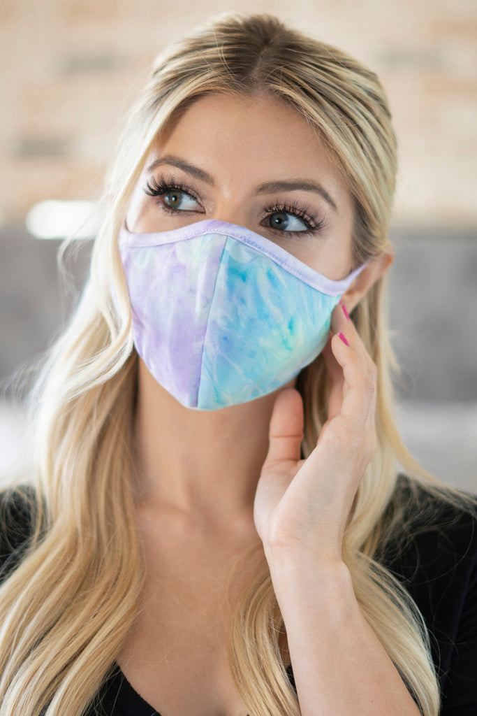 RFM6001-RTD010-AQLI- TIE DYE REUSABLE FACE MASKS FOR ADULTS