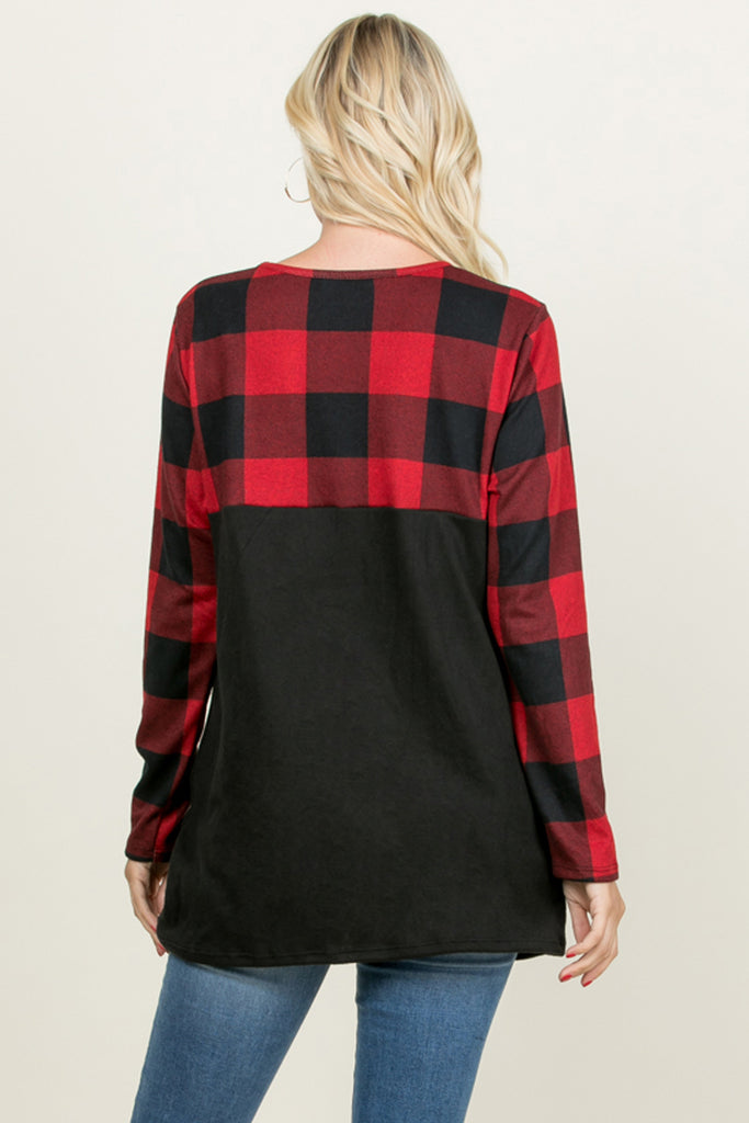Plaid Contrast Twisted Front Tunic