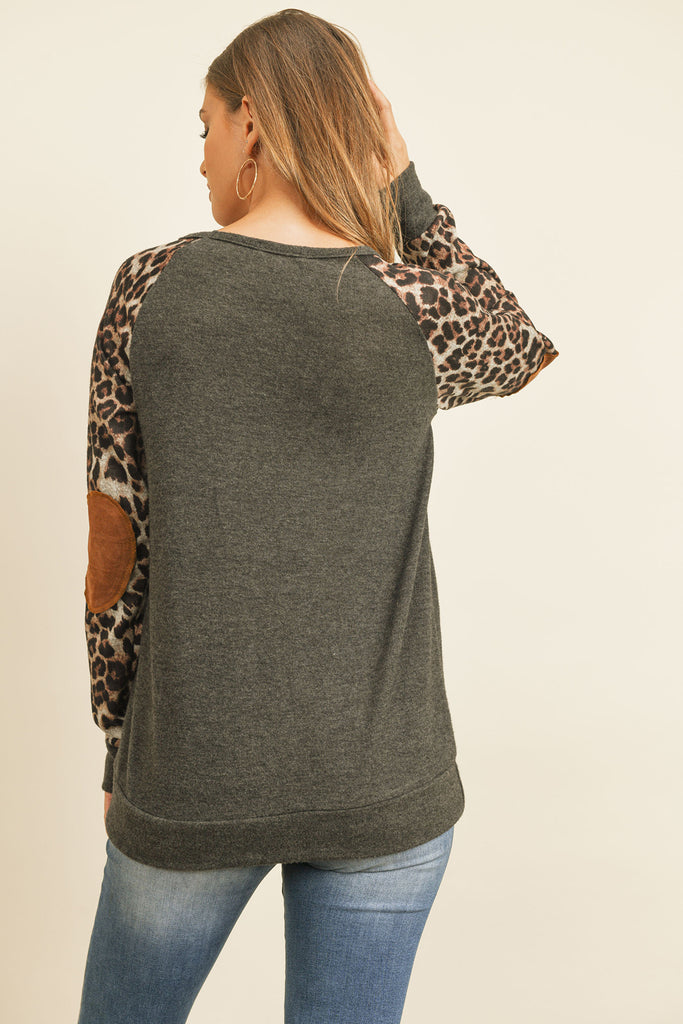Leopard Sleeve Elbow Patch Sweater