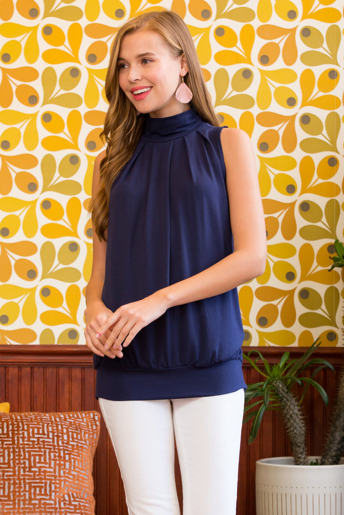 High Neck Pleated Top With Waistband