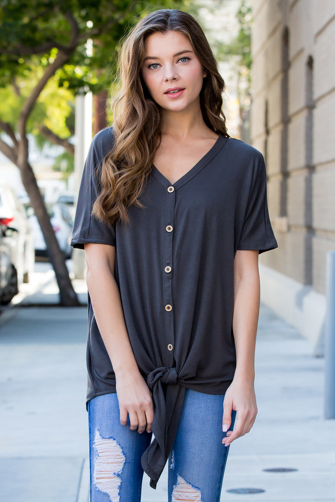 Short Sleeved Button-down Tie Front Top