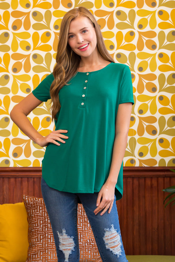 Short Sleeve Dolphin Hem Shell Button Top