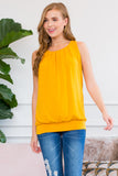 Sleeveless Pleated Top with Waistband