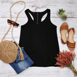Racer Back Zipper Tank Top