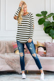 Long Sleeved Striped Elbow Suede Patch Tunic