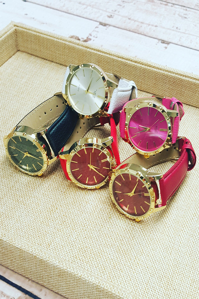 High Shine Faux Leather Watch