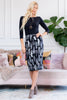 Feather Printed Pencil Skirt