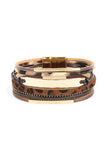 Leopard Leather Bar Wrap Bracelet