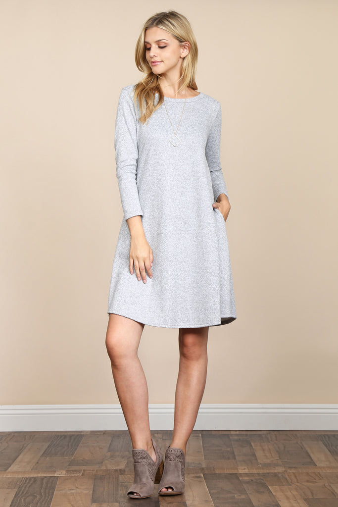 Two Tone Brushed Hacci Pocket Dress