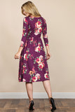 Empire Waist Shirred Floral Pocket Dress