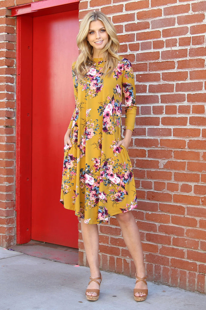3/4 Sleeve Midi Floral Swing Pocket Dress