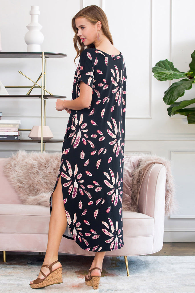 Side Slit Feather Print Maxi Dress