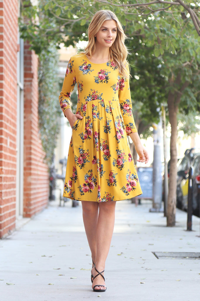 Empire Waist Floral Pleated Pocket Dress