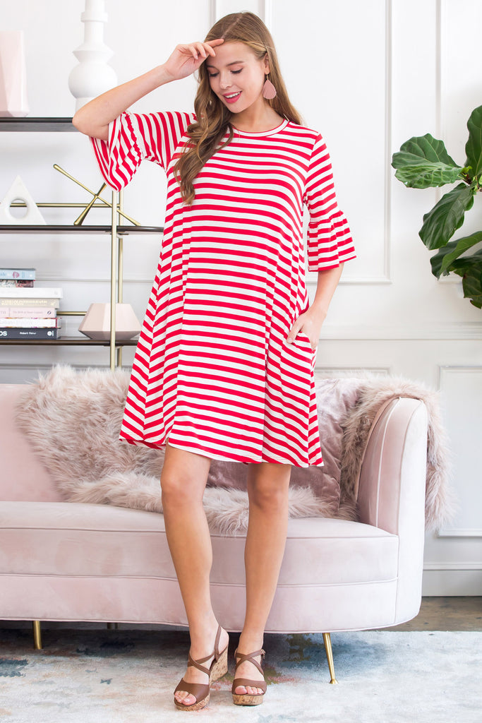 Striped Bell Sleeved Swing Pocket Dress