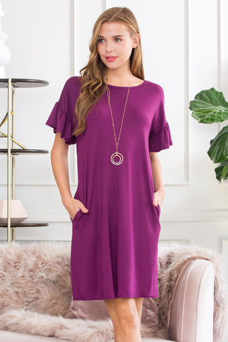 Short Sleeved Solid Wrap Pocket Dress