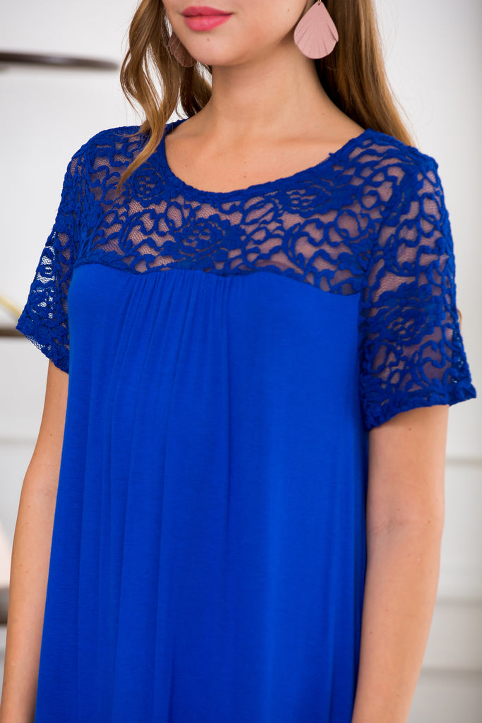 Short Sleeve Pleated Lace Detail Dress