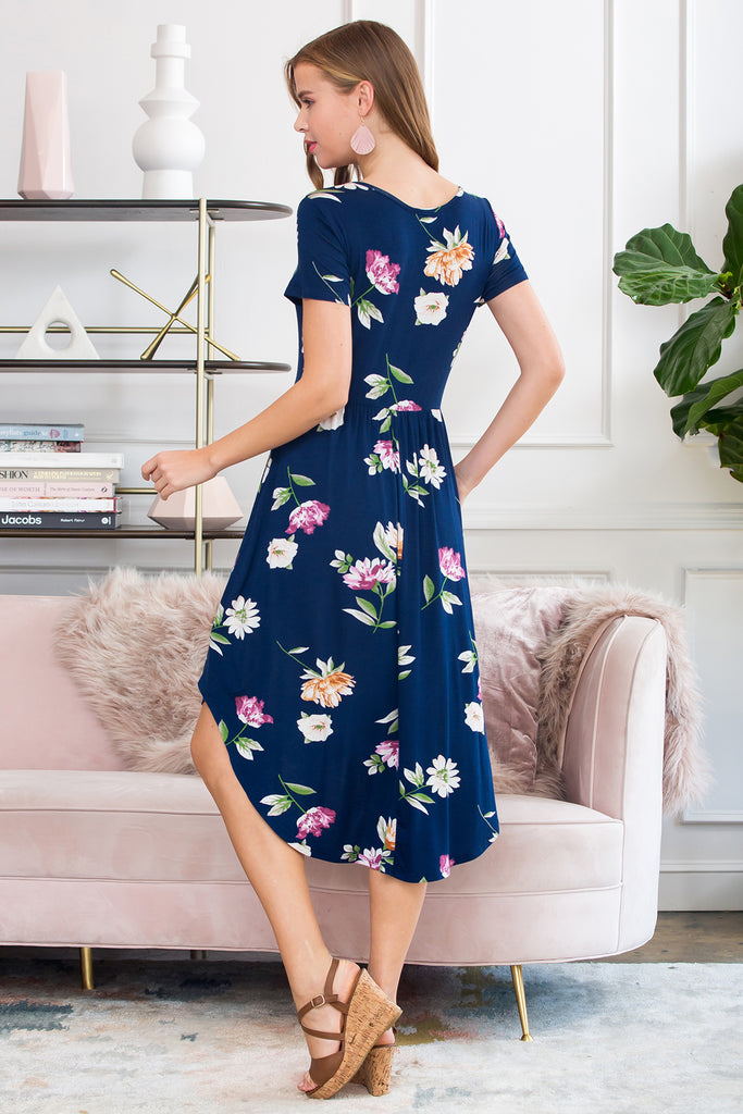 Floral High-Low Empire Pocket Dress