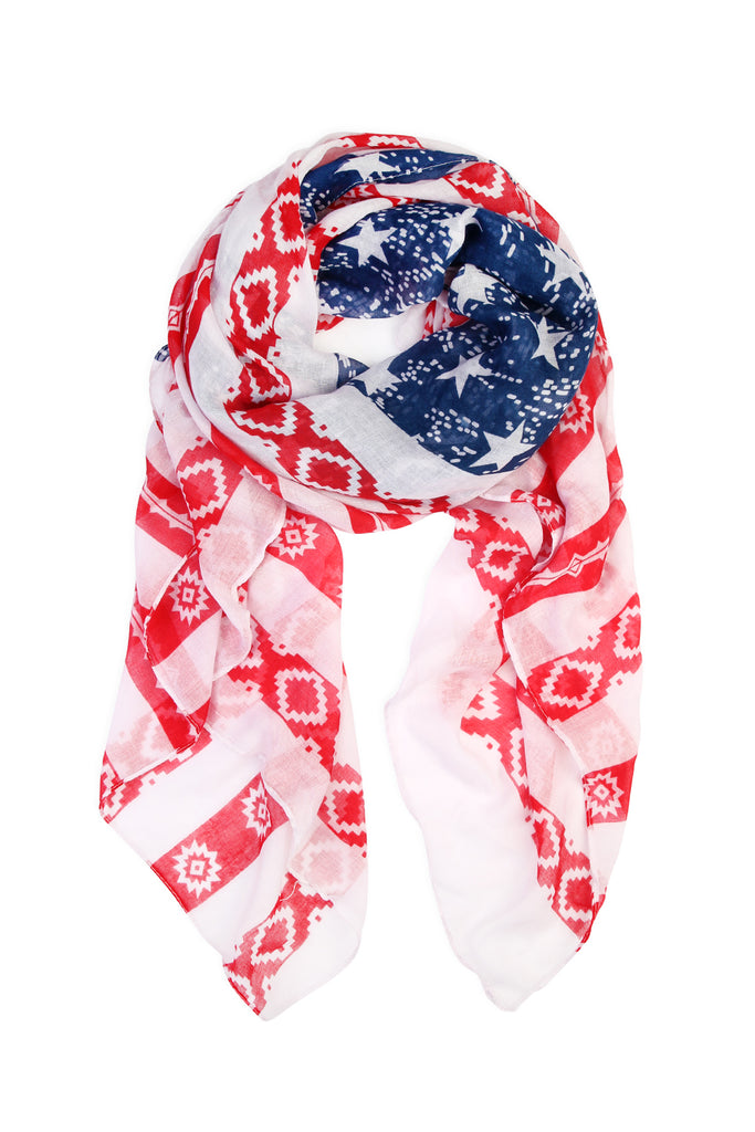 Reb & Blue Stars and Striped Flg Scarf