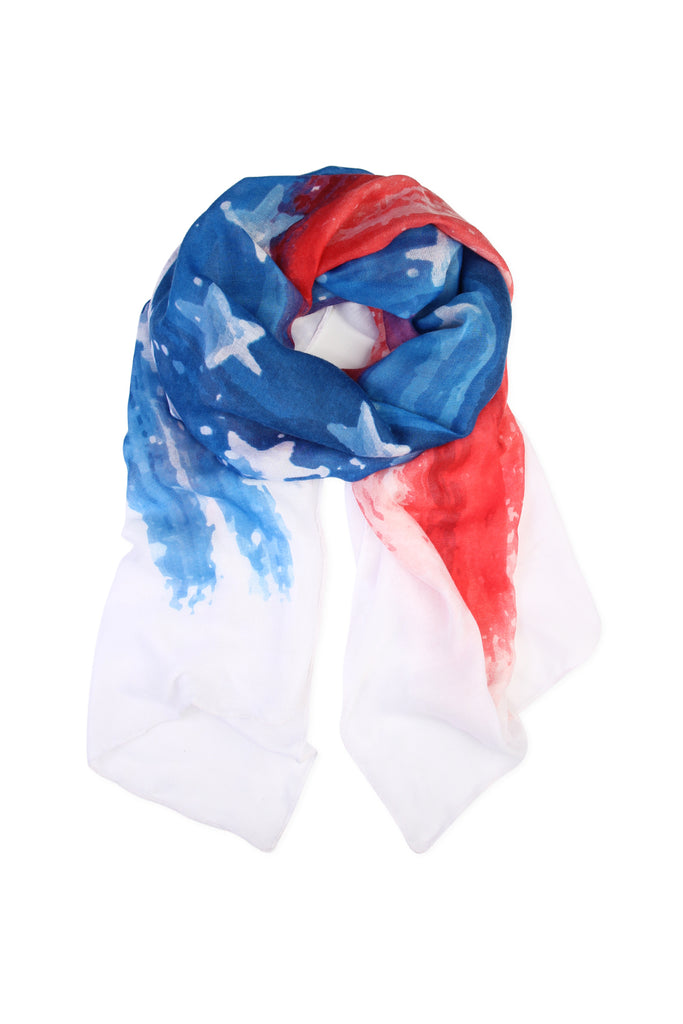 Red & Blue Watercolor American Flag scarf