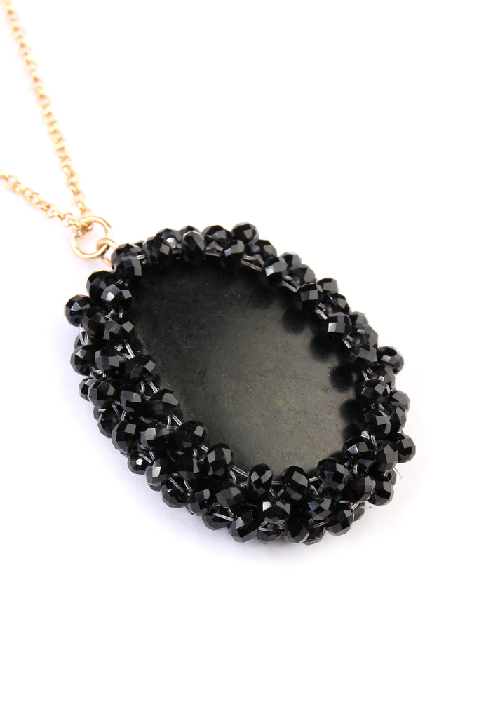 Rondelle Beads Coated Stone Pendant Necklace