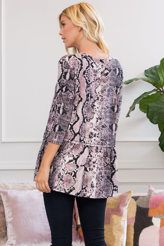 Fierce Look Snake Skin Ruffled Tunic