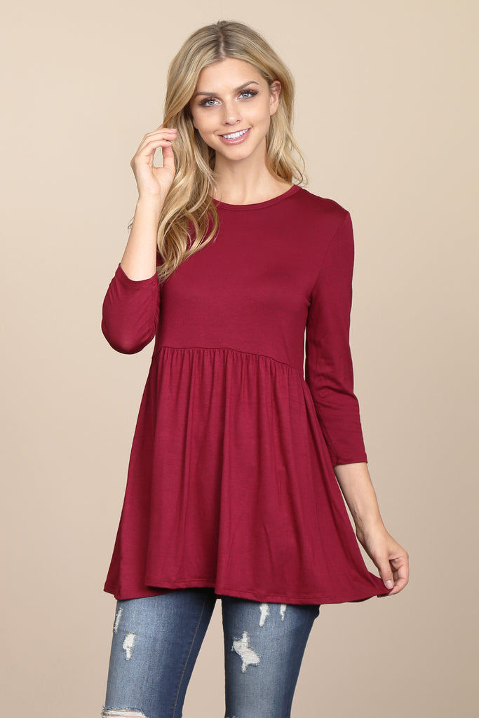3/4 Sleeve Solid Peplum Tunic