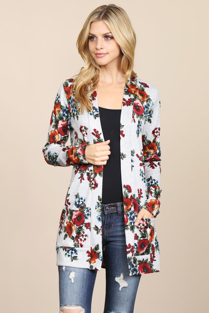 Floral Hacci Cardigan With Pockets