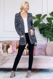 Two Tone Hacci Sweater Pocket Cardigan