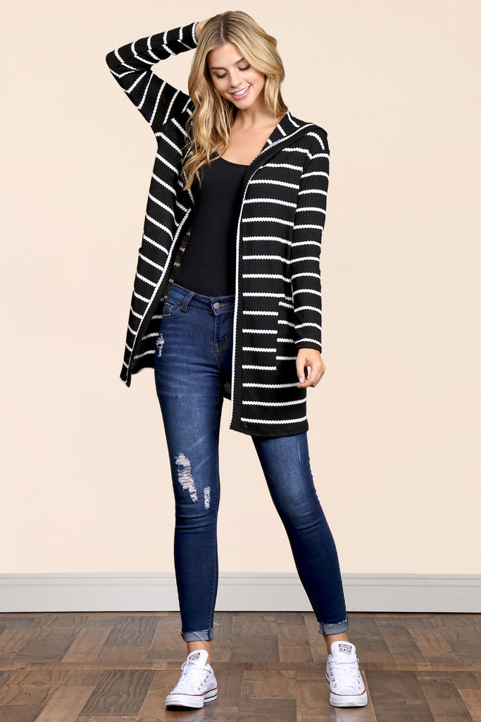 Striped Waffle Hooded Pocket Cardigan