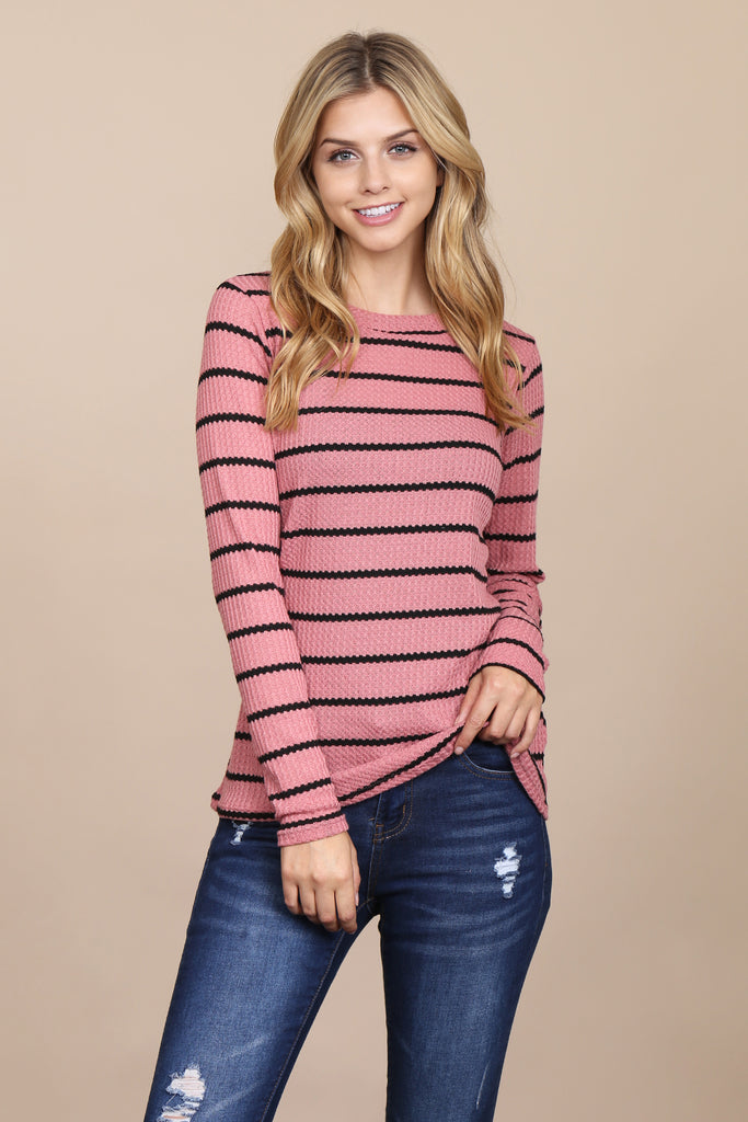 Long Sleeved Round Neck Striped Waffle Top