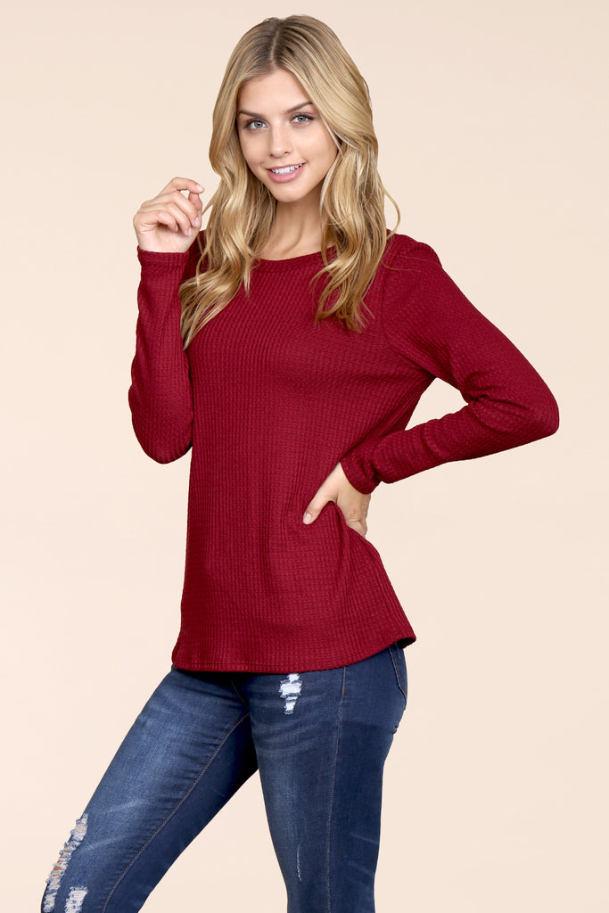 Long Sleeved Round Neck Solid Waffle Top