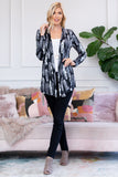 Feather Print Open Cardigan