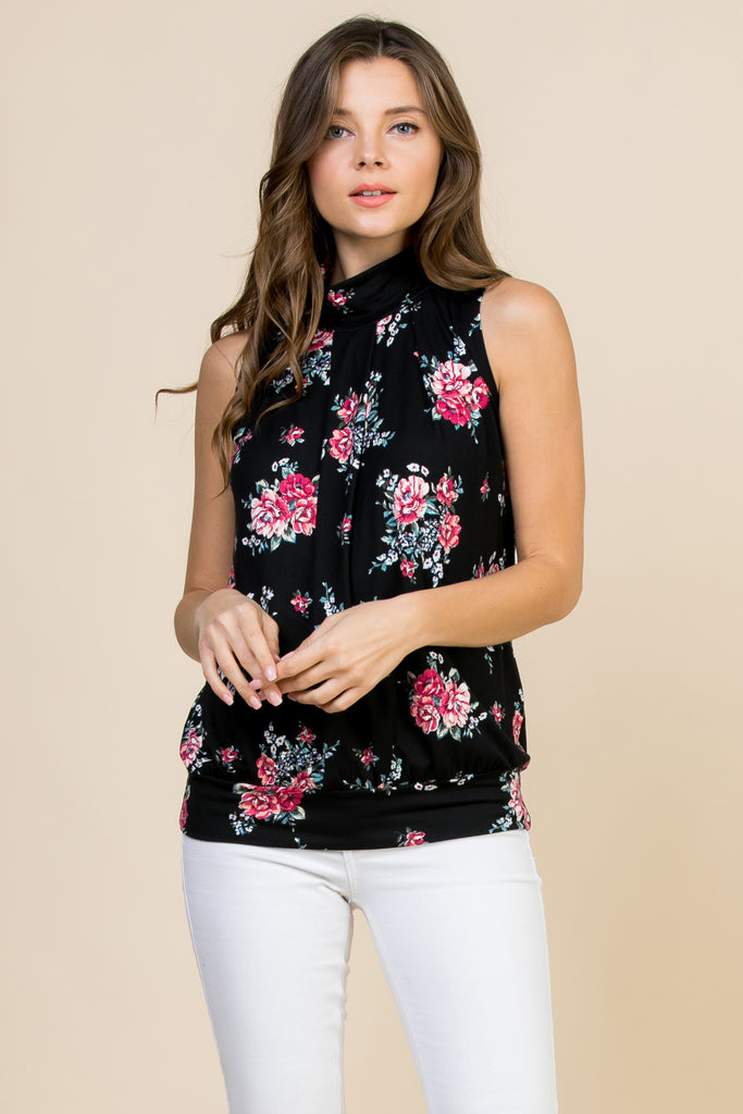 Floral Print Mock Neck Sleeveless Pleated Top