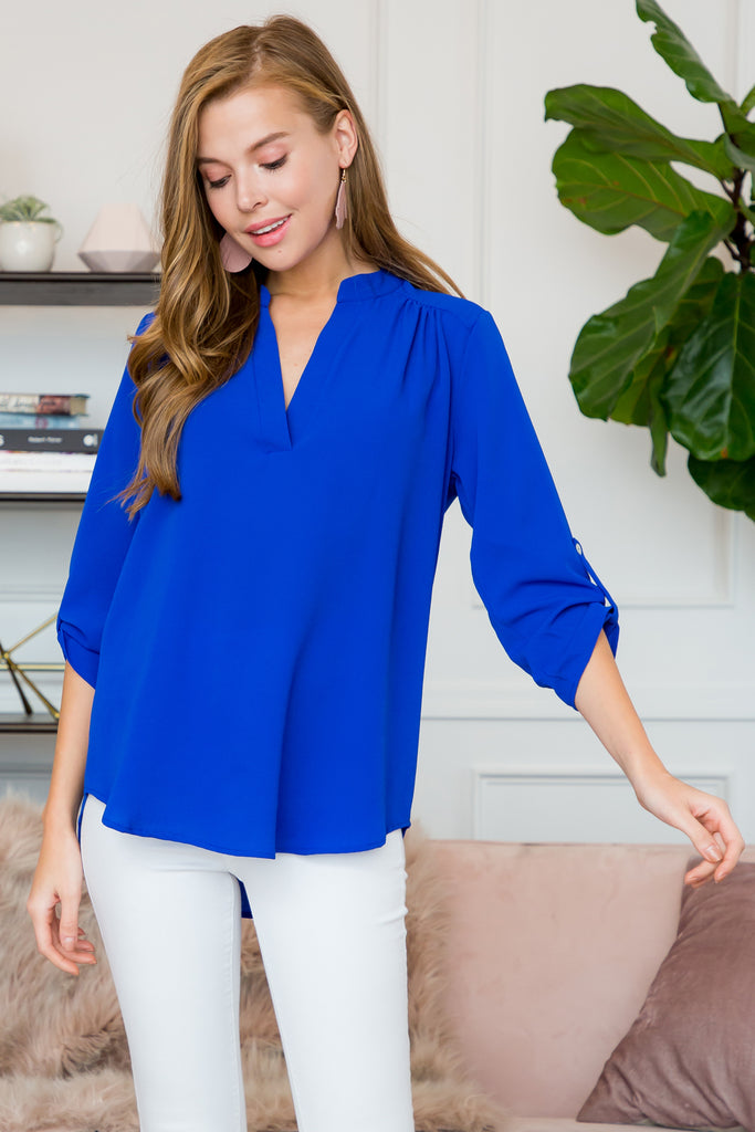 Solid Tab Sleeve Notch Neck Blouse