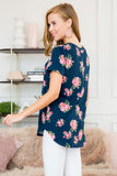 Short Sleeves Floral Print Top