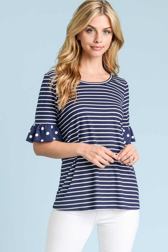 Striped Polka Dot Sleeve Top