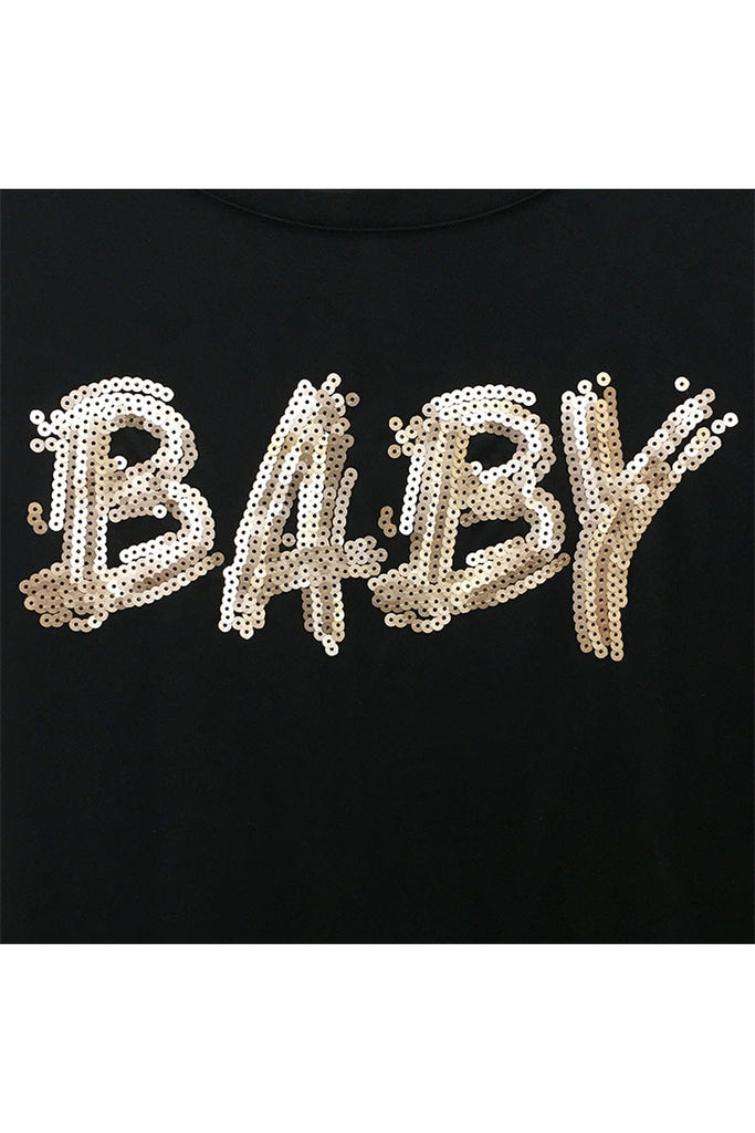 """Baby"" Sequin Print Tee - Riah Fashion"