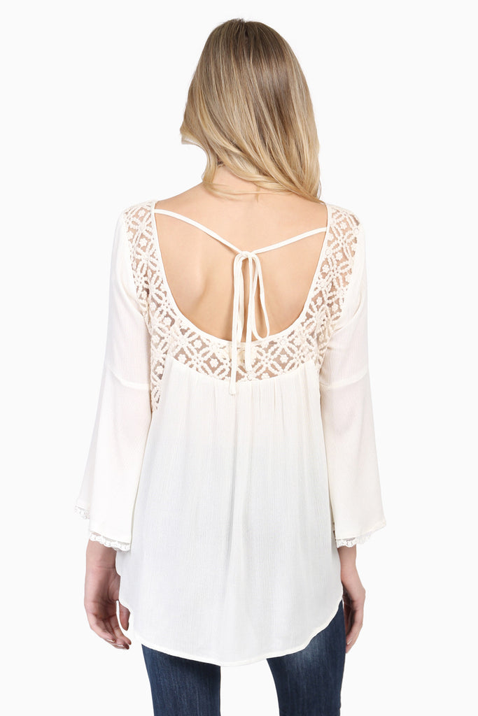 Crochet Detail Tie Back Blouse