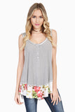 Striped Floral Hem Tunic Tank Top