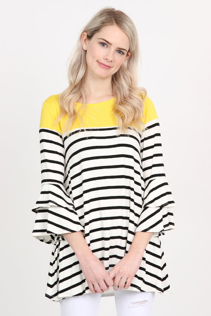 Striped Billowy Bell Sleeve Tunic
