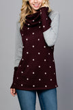 Cowl Neck Contrast Print Long Sleeve Top