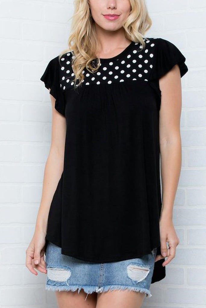 Short Sleeves Polka Dot Pattern Solid Bottom Top