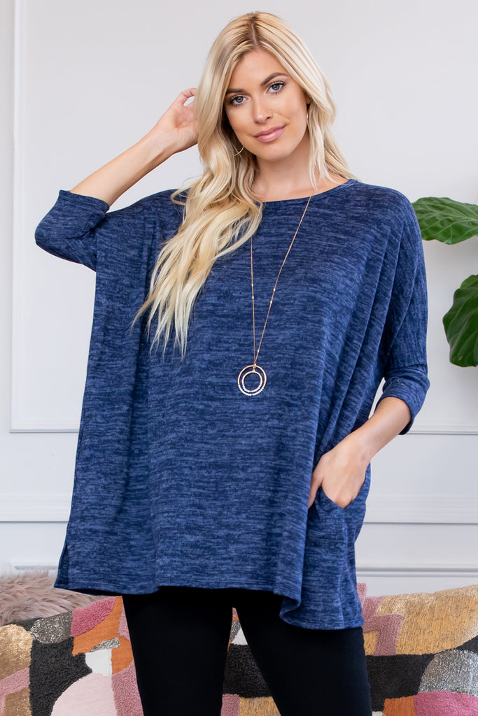 Oversized Two Tone Hacci Brush Pocket Tunic