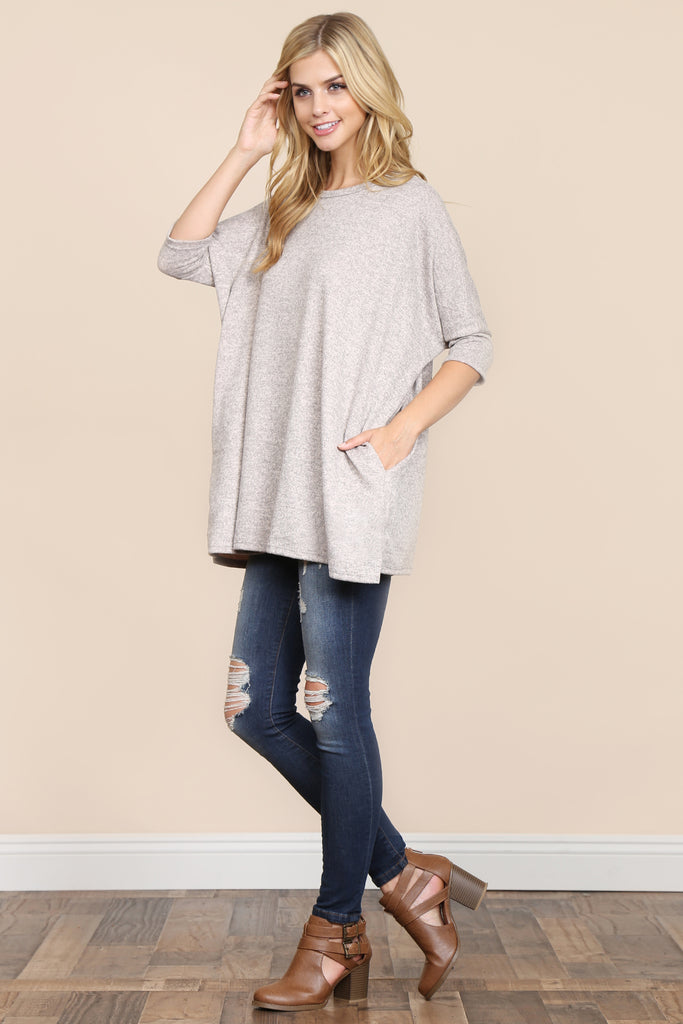 Two Tone Hacci Oversized Dropped Shoulder Pocket Tunic