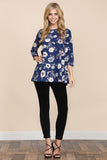 3/4 Sleeved Floral Blouse