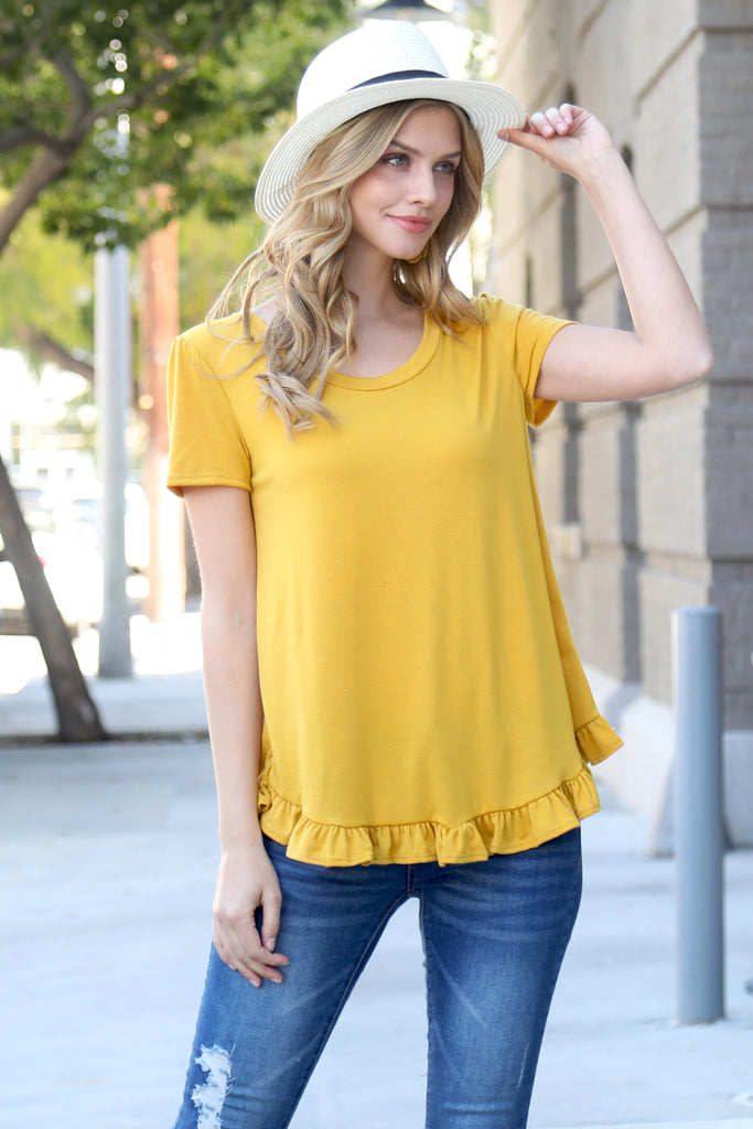 Solid Short Sleeve Ruffle Hem Top