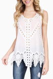 Scalloped Neckline Crochet Sleeveless Top